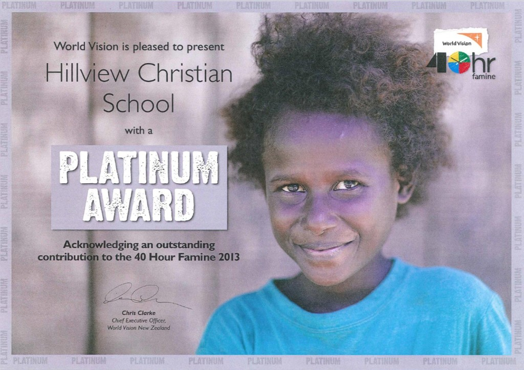 world vision platinum award 2013